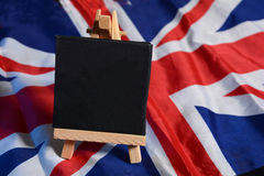 Tableau grêle sur le drapeau du Royaume-Uni avec l'espace de copie Photographie stock libre de droits