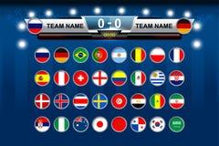 Tableau indicateur d'équipe de football de drapeau national Photo libre de droits