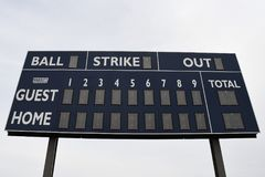 Tableau indicateur de base-ball image libre de droits