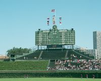 Tableau indicateur 2001 de Centerfield au champ de Wrigley Photographie stock libre de droits