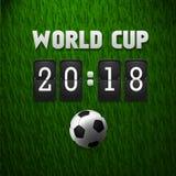 Tableau indicateur 2018 de coupe du monde sur le fond d'herbe Calibre de sport Illustration de vecteur Illustration Libre de Droits