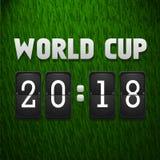 Tableau indicateur 2018 de coupe du monde sur le fond d'herbe Calibre de sport Illustration de vecteur Illustration Stock