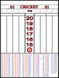 Tableau indicateur de cricket et 01 jeux de dard Photos libres de droits
