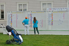 Tableau indicateur de M2M Russian Open dans le club de golf de Tseleevo Photographie stock libre de droits