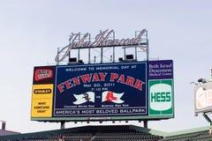 Tableau indicateur neuf de HD au stationnement 2011 de Fenway Photographie stock libre de droits