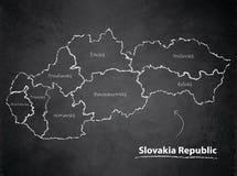 Tableau individuel distinct de tableau noir de carte de République de la Slovaquie Images libres de droits