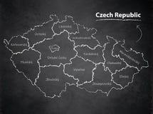 Tableau individuel distinct de tableau noir de carte de République Tchèque Image stock
