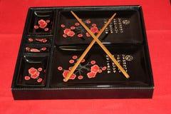 Tableau mis dans la salle à manger Ensemble de paraboloïdes pour des sushi Image stock