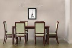 Tableau moderne et chaises pour faire face à un mur vide Image stock