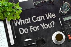 Tableau noir avec ce qui peut nous faire pour vous rendu 3d Photos libres de droits