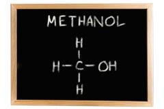 Tableau noir avec la formule chimique du méthanol Images libres de droits