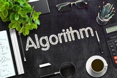 Tableau noir avec le concept d'algorithme rendu 3d Image libre de droits