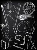 Tableau noir avec le croquis d'enfants Images libres de droits