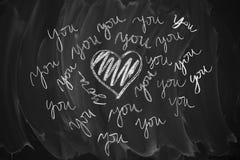 Tableau noir avec le message d'amour Photo libre de droits