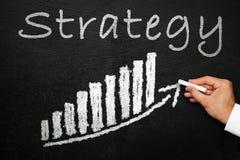 Tableau noir avec le texte manuscrit de stratégie Concept de direction et de succès Image libre de droits