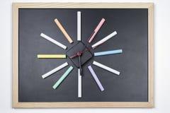 Tableau noir avec les craies colorées Image libre de droits