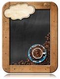 Tableau noir avec les grains de café et l'espace de copie Images stock