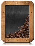 Tableau noir avec les grains de café et l'espace de copie Images libres de droits