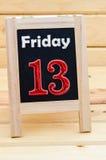 Tableau noir avec vendredi 13 Photo libre de droits