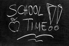 Tableau noir d'école avec le message Image stock