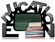 Tableau noir d'éducation avec des livres illustration stock