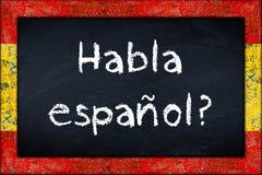 Tableau noir d'espanol de Habla avec le cadre de drapeau de l'Espagne Photographie stock