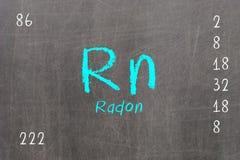 Tableau noir d'isolement avec la table périodique, radon illustration libre de droits