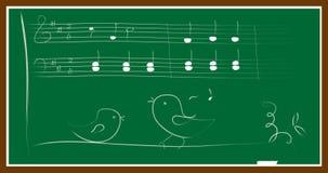 Tableau noir d'oiseau de musique Photographie stock