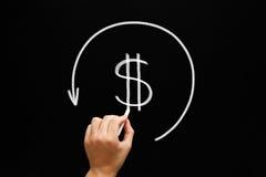 Tableau noir de concept de flèche de remboursement Photos stock