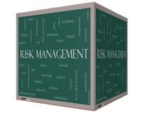 Tableau noir de cube en nuage 3D de Word de gestion des risques Photos libres de droits
