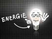 Tableau noir de lumière d'énergie de lampe d'ampoule d'Energie Image stock