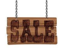 Tableau noir en bois avec la vente (chemin de coupure inclus) Photographie stock libre de droits