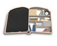 Tableau noir et étagère dans la forme de livre Photo stock