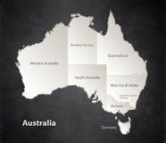 Tableau noir individuel distinct de blanc de noir de carte d'Australie illustration stock