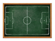 Tableau noir pour le football ou le dessin de formation d'équipe de football Images stock
