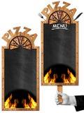 Tableau noir pour le menu de pizza Photo stock