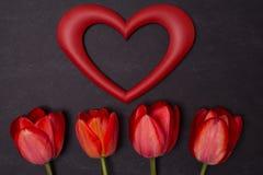 Tableau noir propre vide avec les tulipes et le cadre rouges de coeur Photo libre de droits