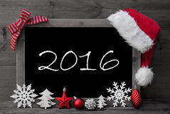 Tableau noir Santa Hat Christmas Decoration Text 2016 photos libres de droits