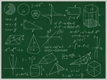 Tableau noir vert mathématique avec la ligne mince formes et inscriptions Vecteur illustration de vecteur