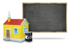 Tableau noir vide noir avec le cadre en bois, maison 3d Images libres de droits