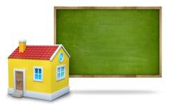 Tableau noir vide vert avec le cadre en bois et le 3d Image libre de droits