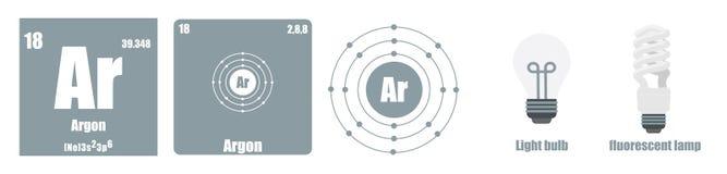 Tableau périodique de groupe d'élément VIII les gaz nobles Illustration de Vecteur