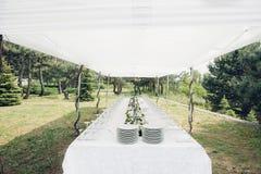 Tableau pour la réception de mariage en plein air Image stock