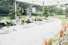 Tableau pour la réception de mariage en plein air Image libre de droits