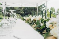 Tableau pour la réception de mariage en plein air Images stock