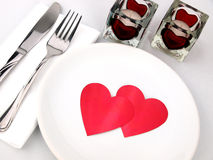 Tableau pour le repas romantique Photo stock
