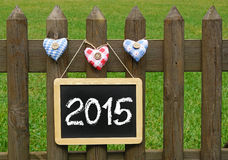 Tableau 2015 sur la barrière de jardin Photographie stock