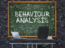 Tableau sur le mur de bureau avec le concept d'analyse de comportement 3d Photo stock