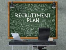 Tableau sur le mur de bureau avec le concept de plan de recrutement 3d Photo stock