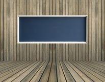 Tableau vide noir sur le mur en bois Photo libre de droits